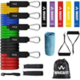 Whatafit Resistance Bands Set (17pcs), Exercise Bands with Door Anchor, Handles, Carry Bag, Legs Ankle Straps for…