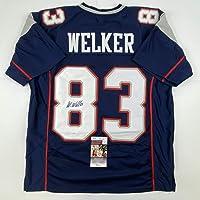 $199 » Autographed/Signed Wes Welker New England Blue Football Jersey JSA COA