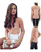 Lisli Womens Chiffon Lace Crochet Long Sleeve Tee Shirt Casual Blouse Tops