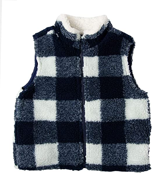 Good Lad Toddler /& 4//7 Boys Blue and White Reversible Sherpa Vest