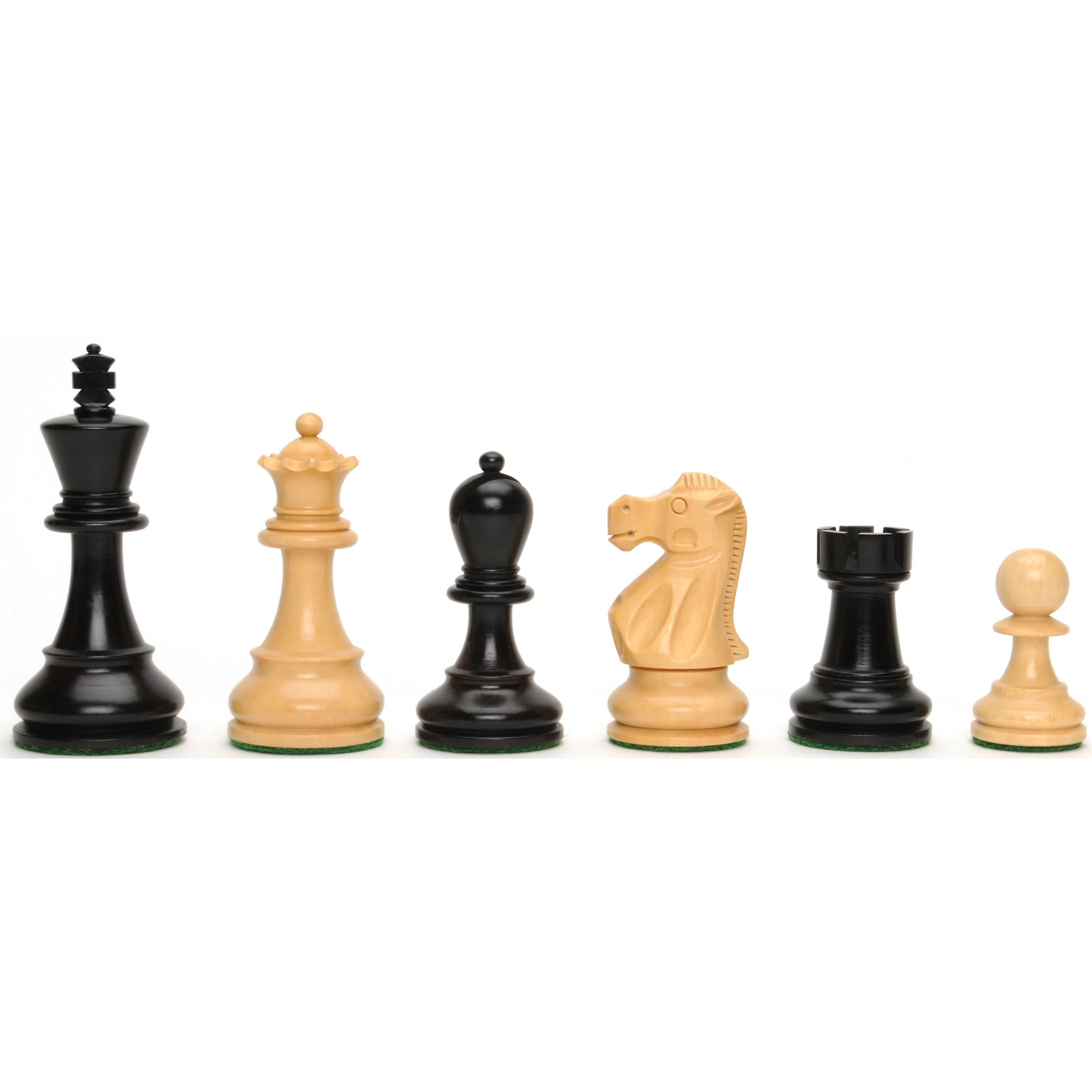 WE Games Deluxe Jacques Chessmen - Triple Weighted & Handpolished Ebony Wood with 3.75 in. King by Wood Expressions