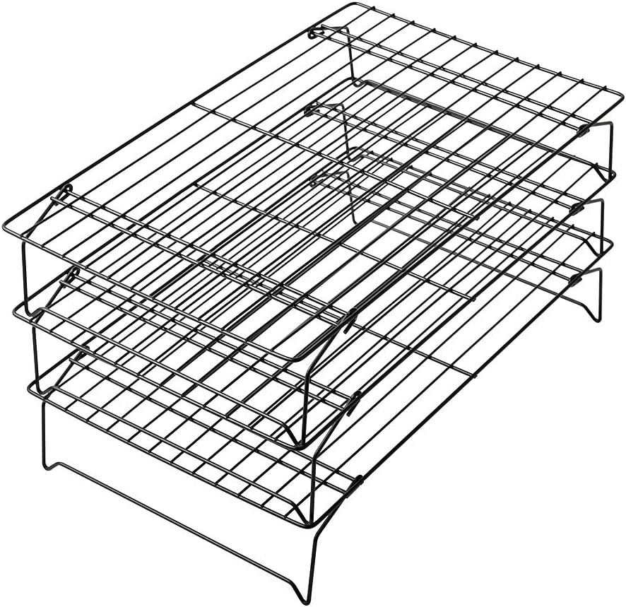 "Commercial Grade 3-Tier Cooling Rack stackable cooling racks for cookies Thick-Wire kitchen baking rack legs (15.7""×9.8"")"