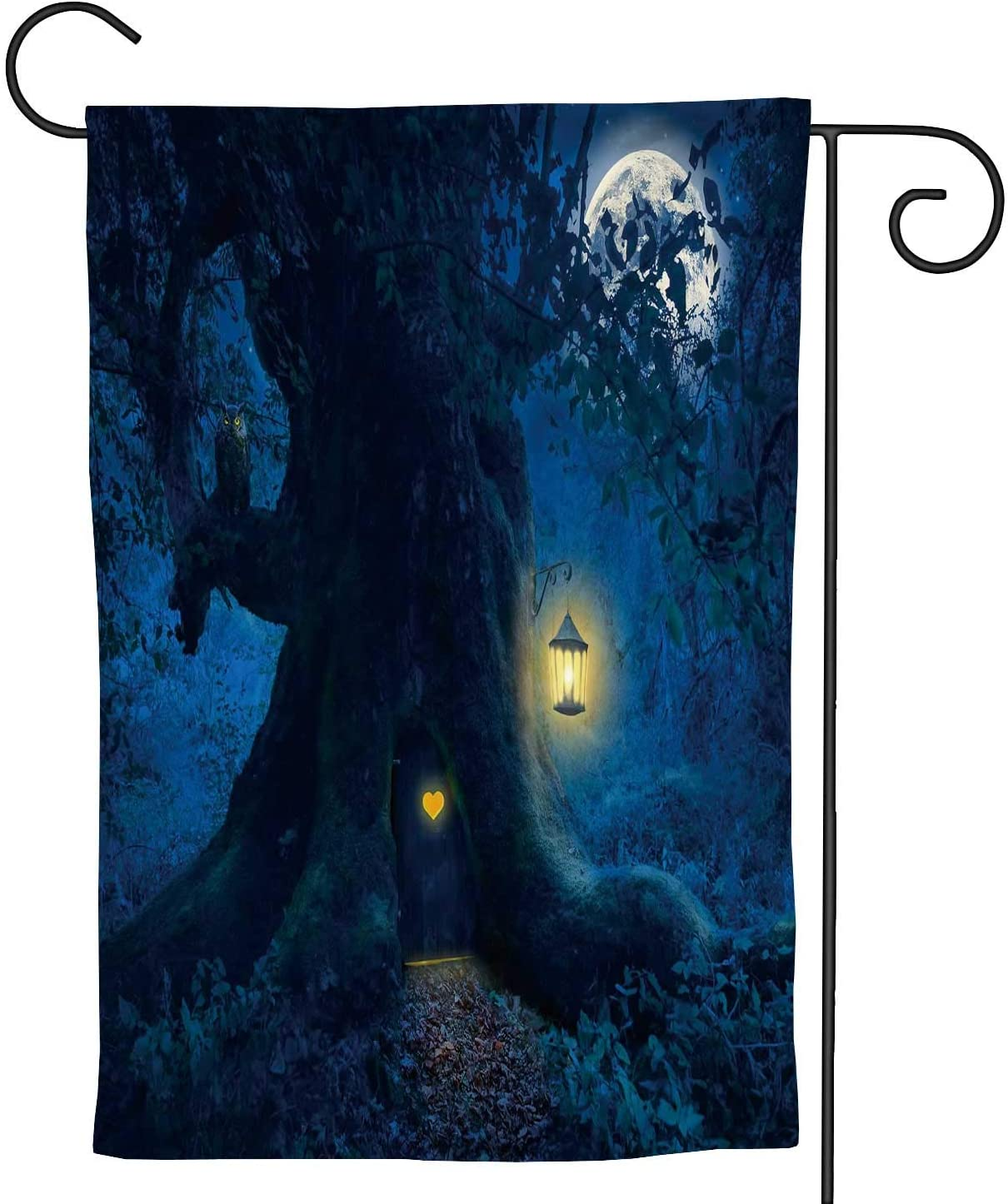 C COABALLA Magical Night with a Little Home in The Trunk of an Ancient Tree Enchanted Forest,Welcome Garden Flag Double Sided Rustic Farmhouse Burlap Yard Outdoor Decoration 12.5''x18''