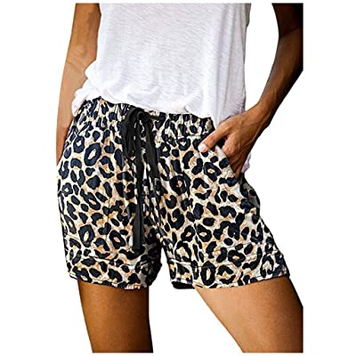 Xinantime Womens Comforty Drawstring Shorts Casual Print Elastic Waist Pockets Shorts Leopard Camouflage Floral Print: Clothing