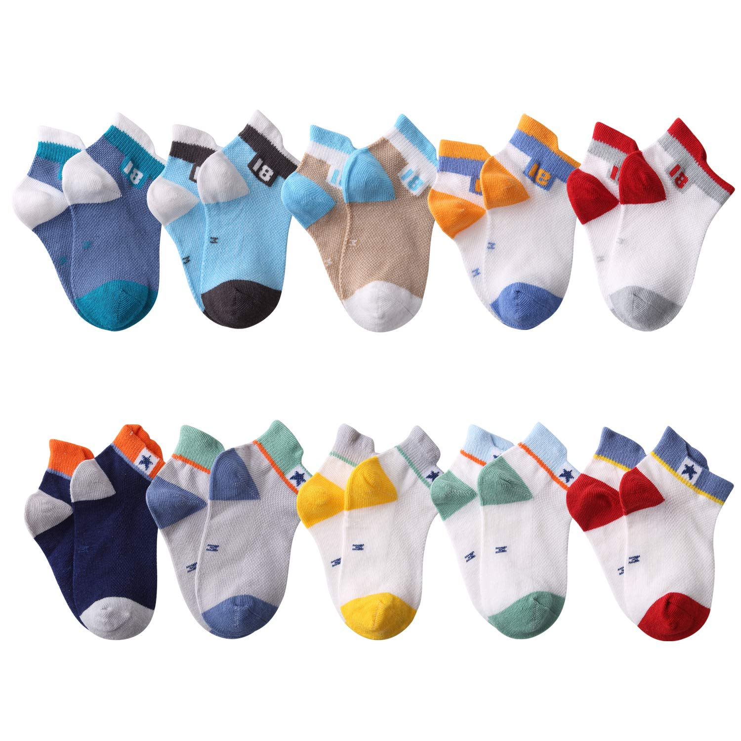 Fenhant 10 Pairs Socks Kids Boys Grils Cute Novelty Colorful Cotton Crew Socks