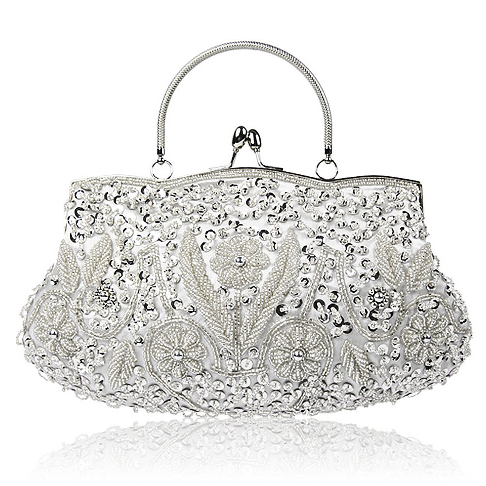 SSMY Beaded Sequin Design Flower Evening Purse Large Clutch Bag (Silver)