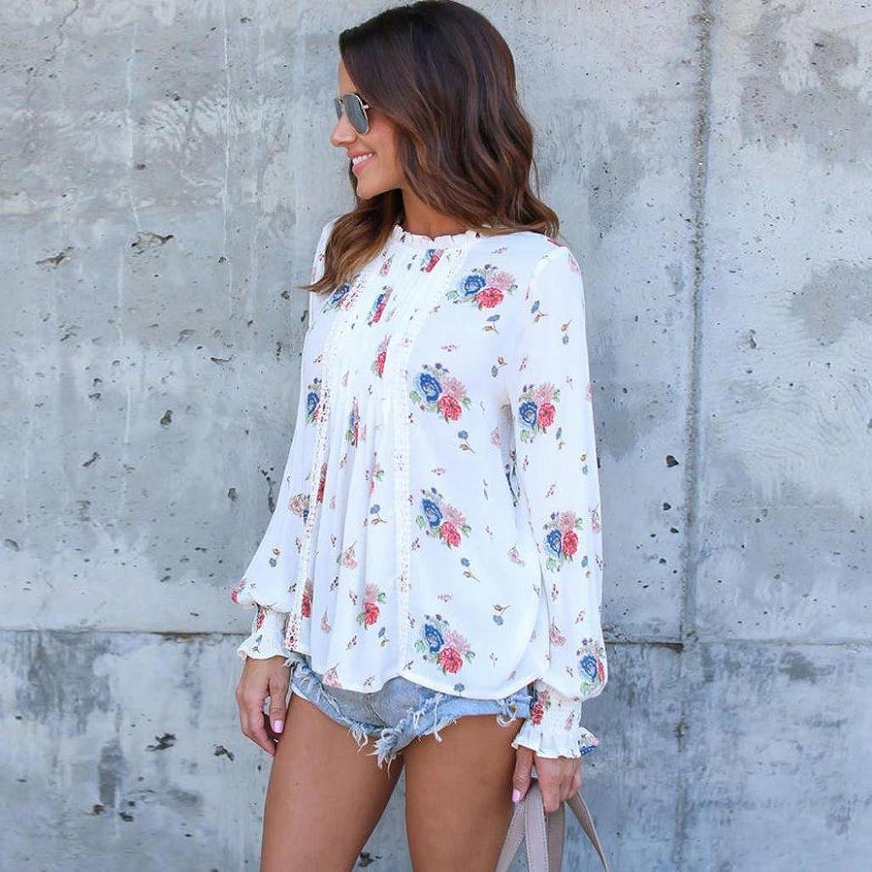 VENMO Sommer Frauen Langarm Chiffon Blumen Casual T-Shirt Lose Bluse Tops:  Amazon.de: Bekleidung