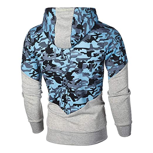 WM & MW Winter Mens Coats Casual Sport Fashion Full Zipper Camouflage Patchwork Hooded Sweatshirt Jacket Tops at Amazon Mens Clothing store:
