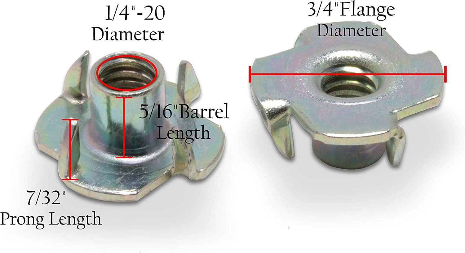 1//4-20 x 7//16 Choose Size//Quantity 1//4-20 Inch, 25 Pack by Bolt Dropper Stainless T-Nuts Pronged Tee Nut. Threaded Insert