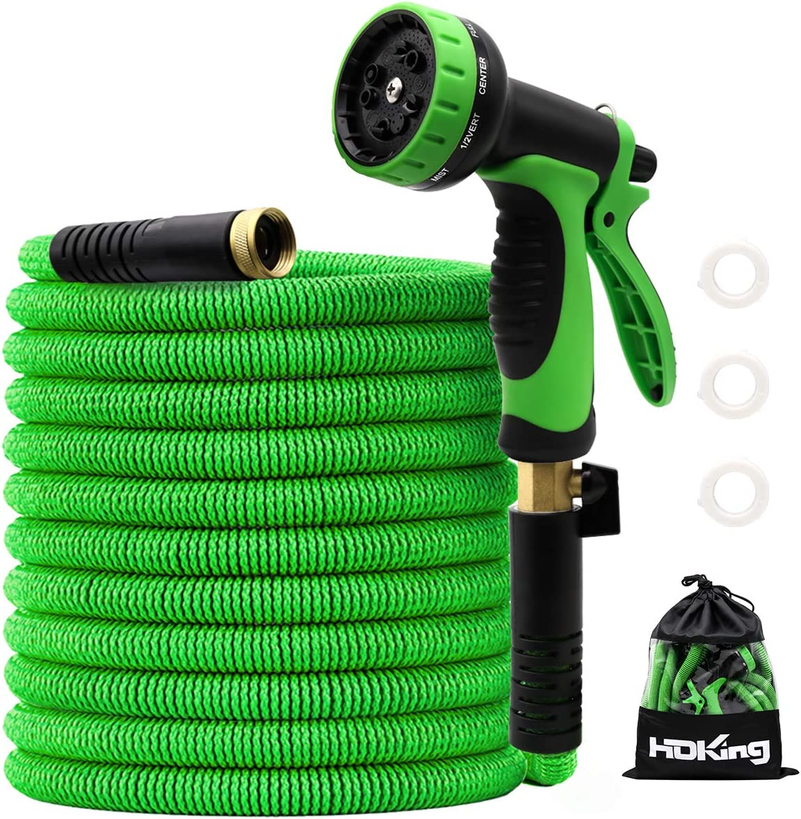 100FT Garden Hose Expandable, Water Collapsible Hose with 10 Function Spray Nozzle, Triple Latex Core, 3/4