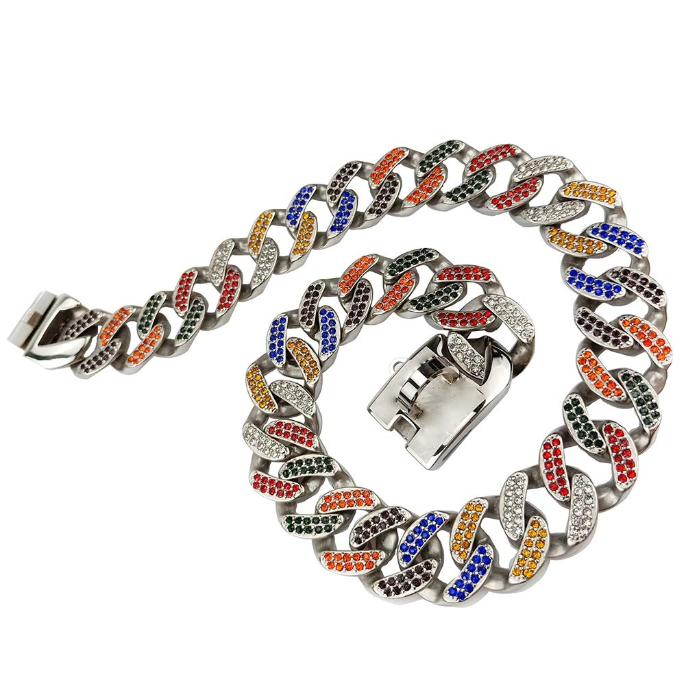MUJING 32 mm Wide Hip Hop Gold Tone Cut Curb Cuban Link 316L Stainless Steel Dog Choke Chain Collar 45-75CM,A,XXL