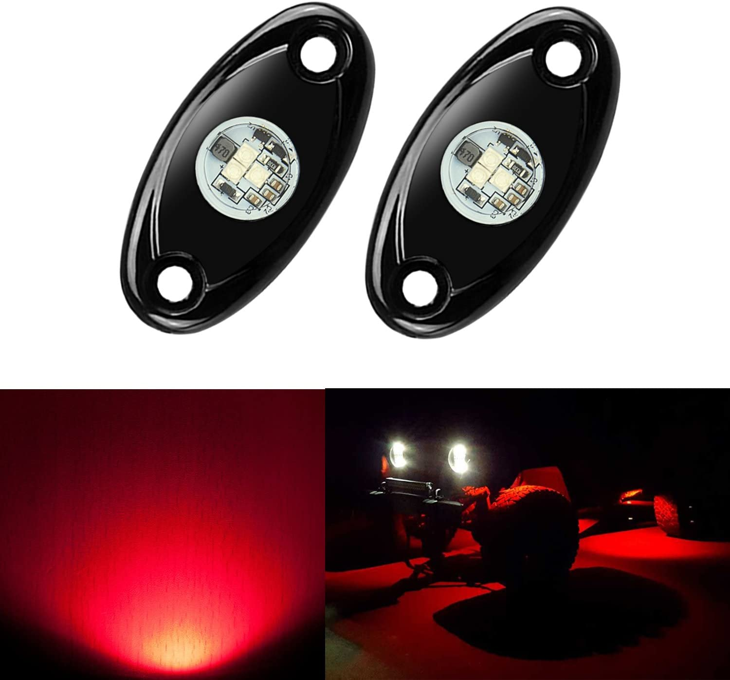 2 Pods LED Rock Lights, Ampper Waterproof LED Neon Underglow Light for Car Truck ATV UTV SUV Jeep Offroad Boat Underbody Glow Trail Rig Lamp (Red): Automotive