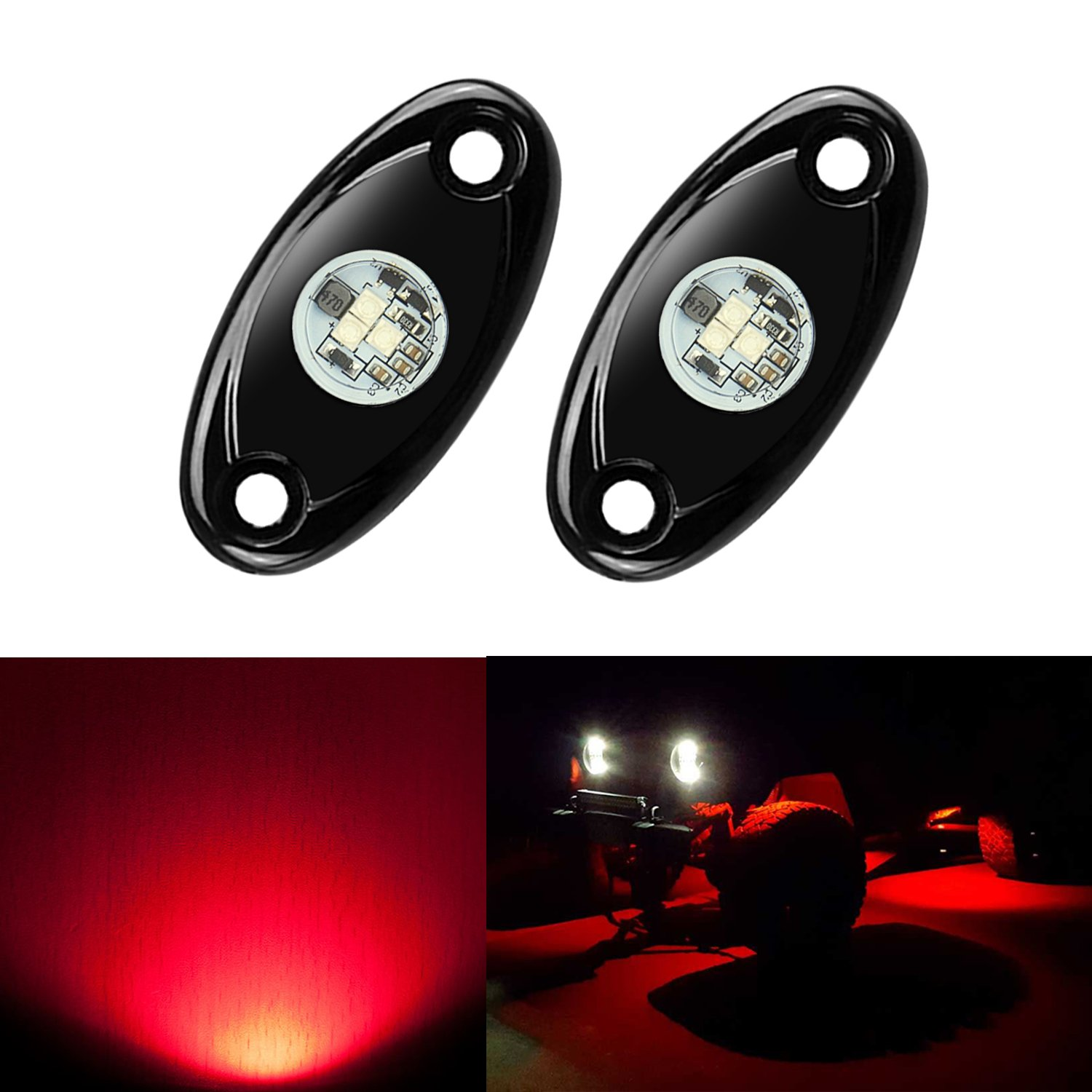Ampper RGB LED Rock Lights with Bluetooth Control, Timing Function, Music Mode - Neon LED Underglow Light Kits for Car Offroad Boat Trail Rig Lamp (Waterproof, 4 Pods)