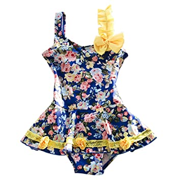 3b34cdc4b Amazon.com  1 Pieces Cute Baby Girl Floral Peony Bowknot Blue ...