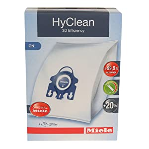Miele 9917730 Cleaners-99 HyClean 3D GN Type Microfiber Dust Bags Canister Vacuum Cleaners-9917730, White & Blue