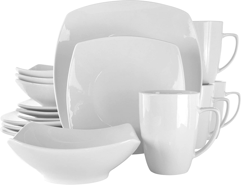 Elama Hayes White Porcelain Dish Dinnerware Set 16 Piece