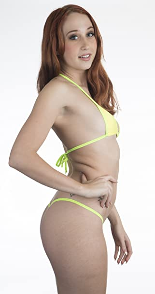 31b5af1fc Amazon.com: Neon Yellow Sexy Micro G-String Bikini 2pc Small Top Mini Thong  Neon Green Trim: Clothing