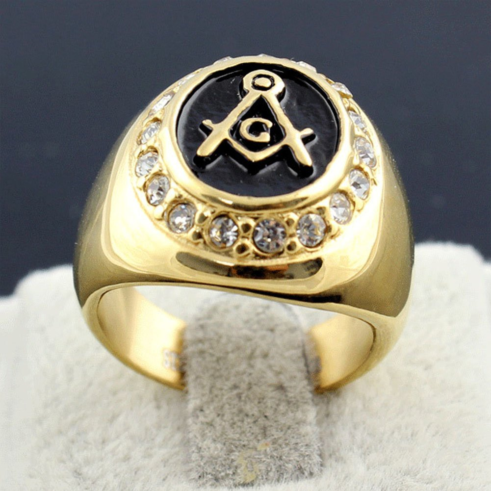 Galleon - 18K Gold Plated Stainless Steel Masonic Ring Retro