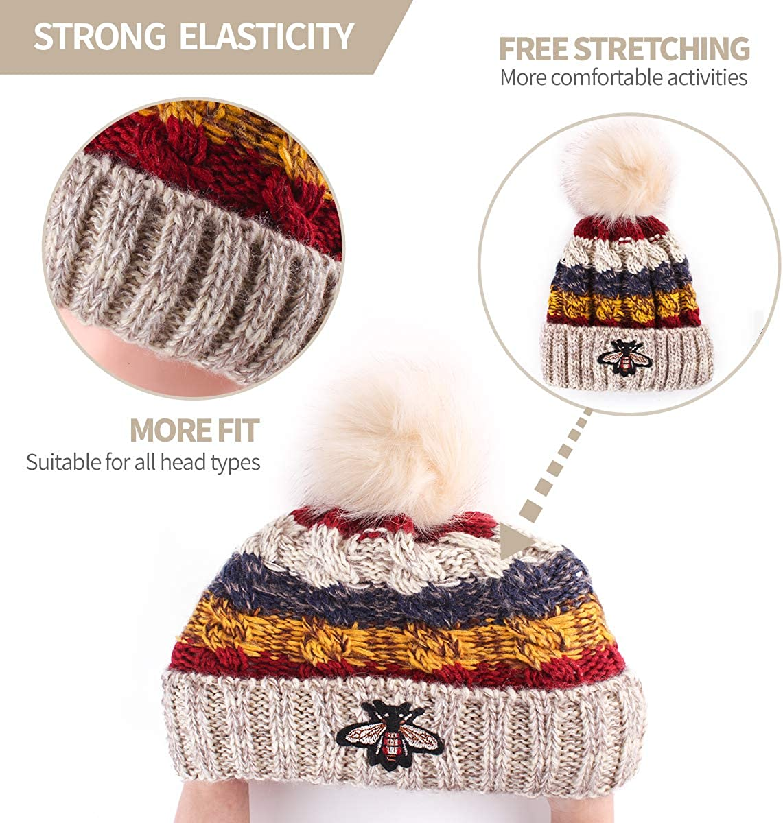 ElifeAcc Winter Beanie Hat with Large Faux Fur Bobble Pom Pom Winter Fur Knitted Hat for Outdoor Camping Ski caps