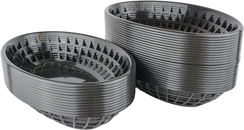 Bear Paws - Food Baskets - Plastic Basket - Oval Bread Baskets - Serving Basket - Restaurant Baskets - Deli Tray - Fries, Burgers, Crawfish - 36 Count, Black