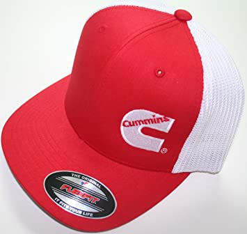e596345eff7 Image Unavailable. Image not available for. Color  Cummins Flex Fit Flexfit  Black Hat Summer Truckers Mesh Red white Cummings