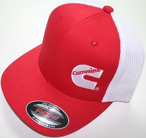 Cummins Flex Fit Flexfit Black Hat Summer Truckers Mesh Red white Cummings e91392e9181d