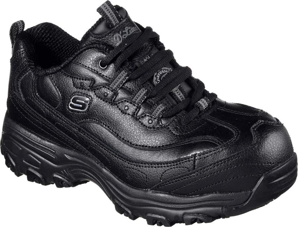 Skechers for Work Women's D'Lites Slip-Resistant Pooler Work Shoe B01M028RNQ 5.5 C US|Black Embossed Leather/Trim