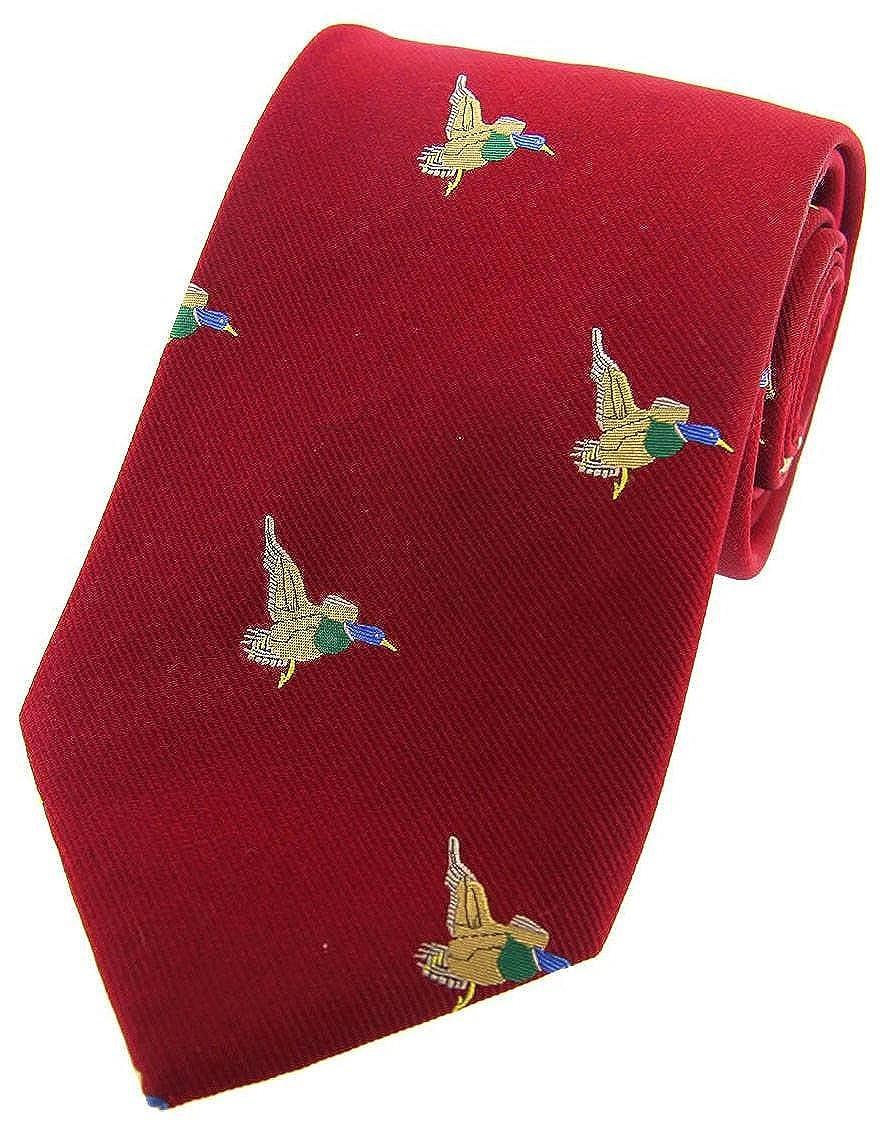David Van Hagen Rojo Flying Patos corbata tejida País Seda: Amazon ...