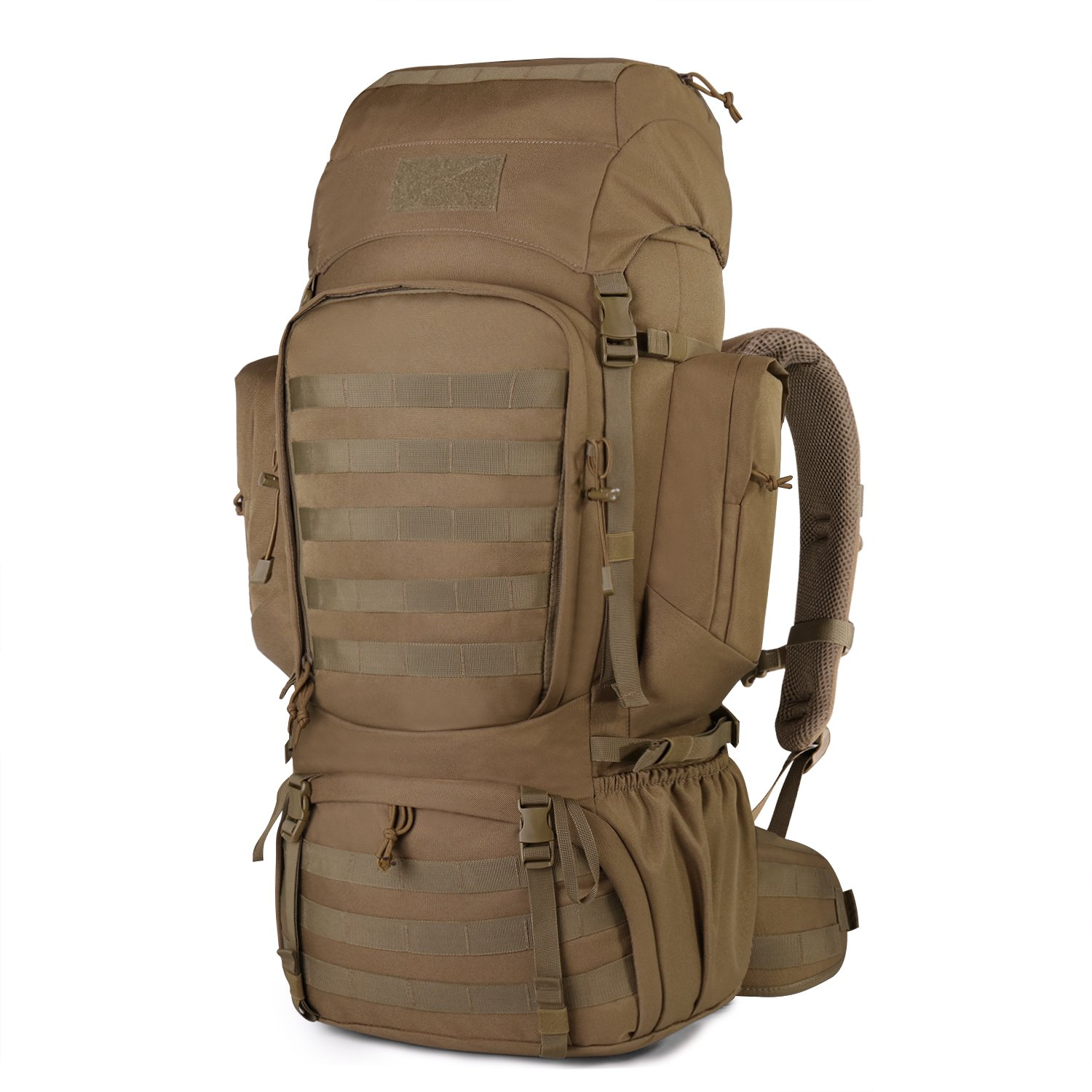 Mardingtop 60L Internal Frame Backpack Tactical Military Molle Rucksack for Camping Hiking Traveling with Rain Cover, YKK Zipper YKK Buckle Khaki-6226 by Mardingtop