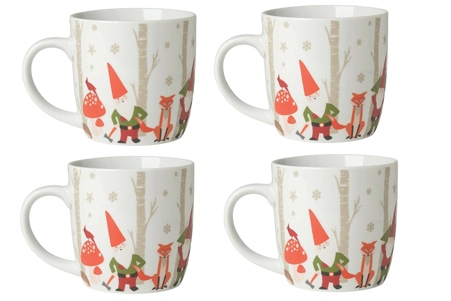 Now Designs L003088a Mugs, Gnomes, Red, Set of 4 L003088aa