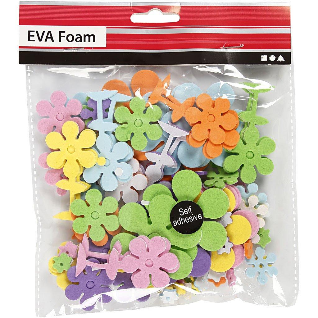 medidas 10-60 mm 100surtido Flores grosor 2 mm Surtido de colores Formas de goma EVA
