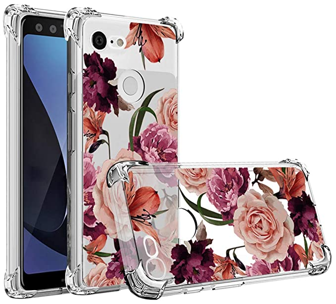 pretty nice 68ad2 8bbce Osophter Compatible with Google Pixel 3 XL,Pixel 3 XL Flower Case  Shock-Absorption Flexible TPU Rubber Soft Silicone Full-Body Protective  Cover for ...