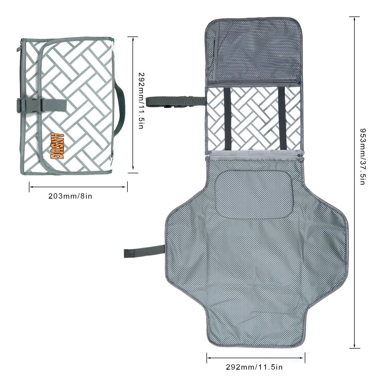 ANSUG matelas /à langer pliable imperm/éable pour b/éb/é avec un coussin moelleux et des poches pour organisateur propres et s/ûres pour les d/éplacements /à domicile Matelas /à langer portatif