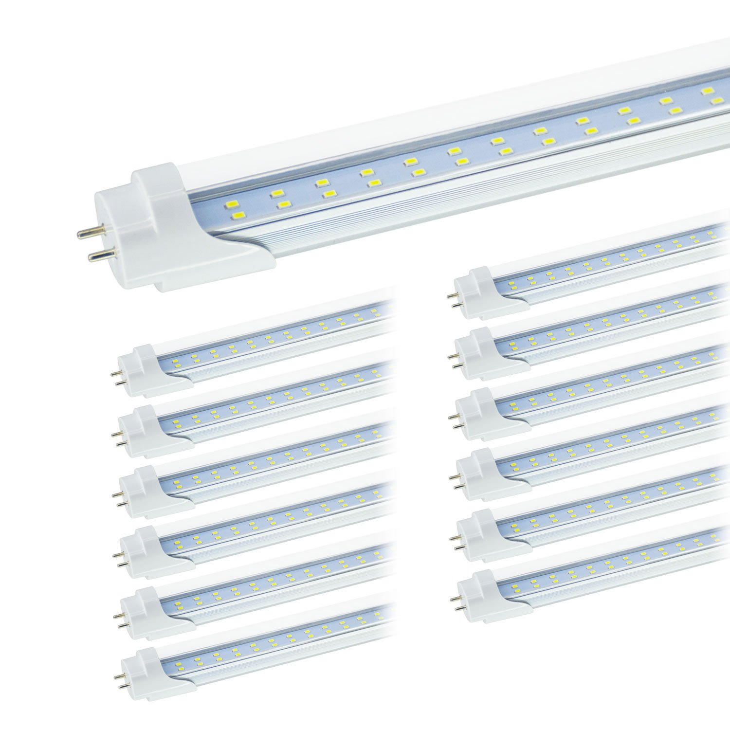 JESLED T8 4FT LED Tube Light, 5000k Daylight, 24W 3000LM, Clear Cover, 4 Foot 48'' T12 LED Bulbs Replacement for Garage Warehouse Shops Fluorescent Fixture, Dual-end Powered, Ballast Bypass (12-Pack)
