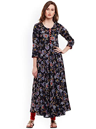 cb2009b1970e4 Amazon.com  Hiral Designer mall Indian Women Black Printed A-Line Kurta  party ware Kurti for Women Tunic Top r 3 4 Sleeve Dress.  Clothing