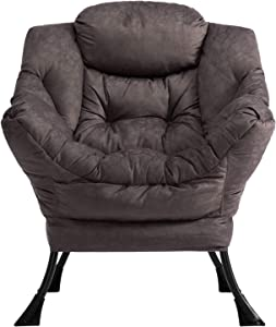 AbocoFur Modern Cotton Fabric Lazy Chair, Accent Contemporary Lounge Chair, Single Steel Frame Leisure Sofa Chair with Armrests and A Side Pocket, Thick Padded Back, Coffe