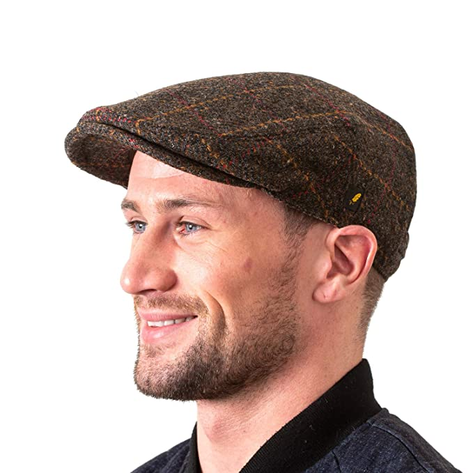 cd7da068eff Men s Driving Cap 100% Donegal Tweed Brown and Blue Cap Made in Ireland  Small