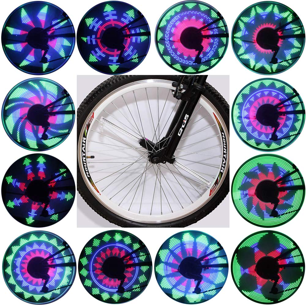 QANGEL LED Bike Wheel Light Spoke Mountain Bicycle Tyre Lights Cycling Bike Tire Light Bicycle Wheel Light Waterproof Double-Sided Full Screen Display for Bicycle Decoration