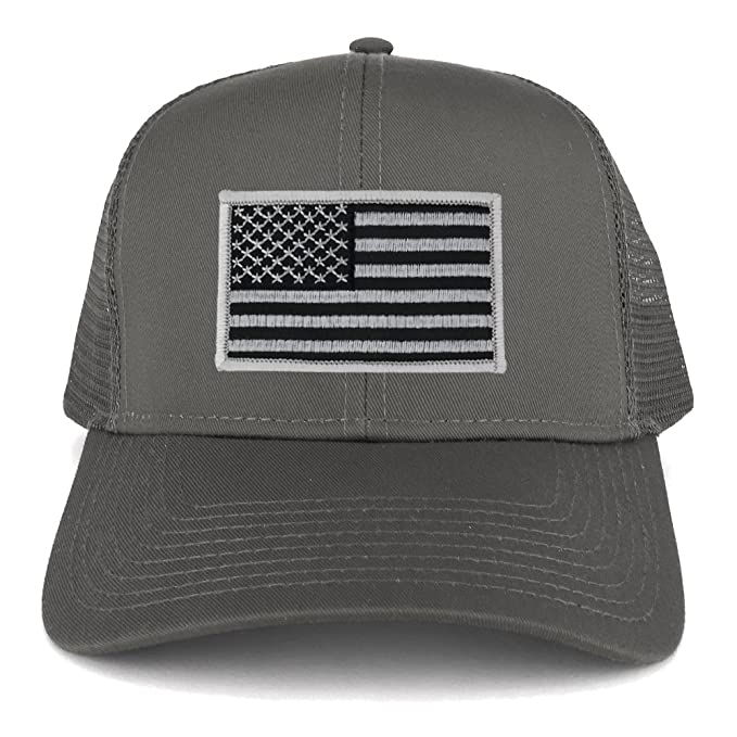 971111069afae USA American Flag Embroidered Patch Snapback Mesh Trucker Cap - CHARCOAL - BLACK  GREY