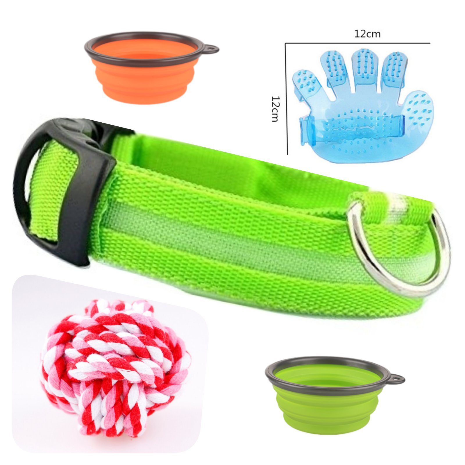 Ababetter All in ONE! 2 Collapsible Bowl Feeder for Dog with 2 carabiners. Collar led Light Flashing Grooming Glove Cotton Rope Toy.