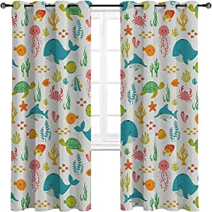 "HouseLookHome Kitchen Curtains Cartoon Decor Collection Room Darken Curtains Underwater Animals Aquatic Marine Life with Crabs Sea Stars Fish Illustration 2 Grommet Top Curtain Panels,42"" W x 63"" L"