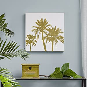 Intelligent Design, Gold Palms Wall Art - Gold Foil Embellished Canvas, Modern Luxe Design Tropical Inspired Painting Living Room Accent Décor, Gold, 20 x 20 (ID95C-0013)