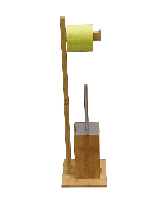 Beige 70.5x19x19 cm MSV PORTAROLLO Y ESCOBILLA DE Bano DE Bambu