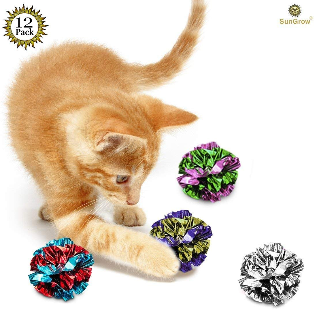 12 Mylar Crinkle Balls for Cats - Soft, Lightweight & Fun Toy for Both Kittens & Adult Cats - Shiny & Stress Buster Toy - Interesting Crinkly Sounds - Hours of Entertainment - Safe for Your Kitty MARIMO PET STORE