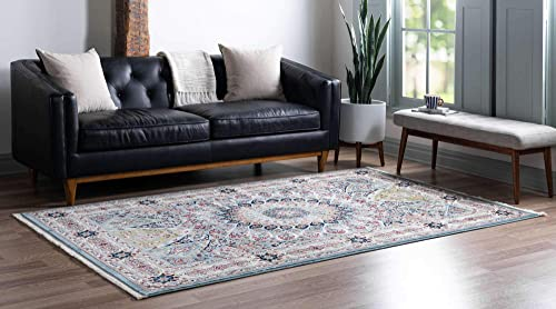 Unique Loom Narenj Collection Classic Traditional Medallion Textured Blue Area Rug 3 0 x 5 0