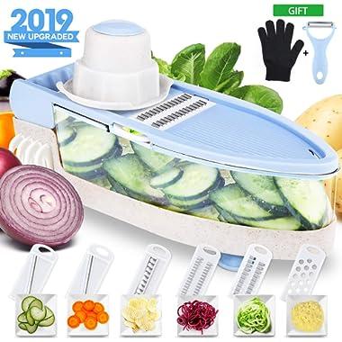 WOOANY [Upgraded] Mandoline Slicer with Cut-Resistant Glove - 7 in 1 Veggie Slicer Mandoline Food Slicer with Julienne Grater - V Slicer Mandoline Cutter- BPA Free Potato Vegetable Slicer