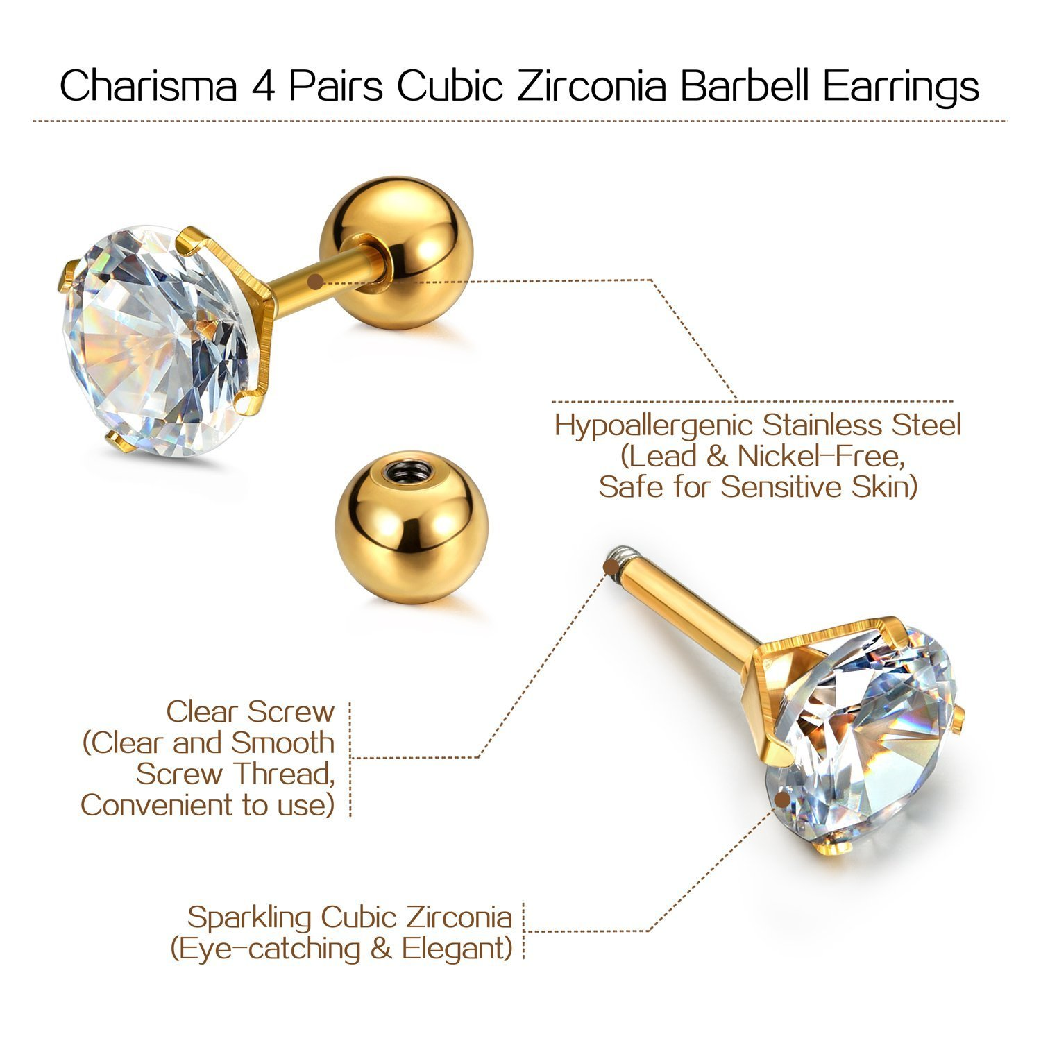3 Pairs//4 Pairs, 6mm Bar Length, 3mm-6mm Cubic Zirconia Charisma 16G Cartilage Tragus Helix Stud Stainless Steel Barbell Earrings for Women Men Toodlers Screw Back Piercing Earrings