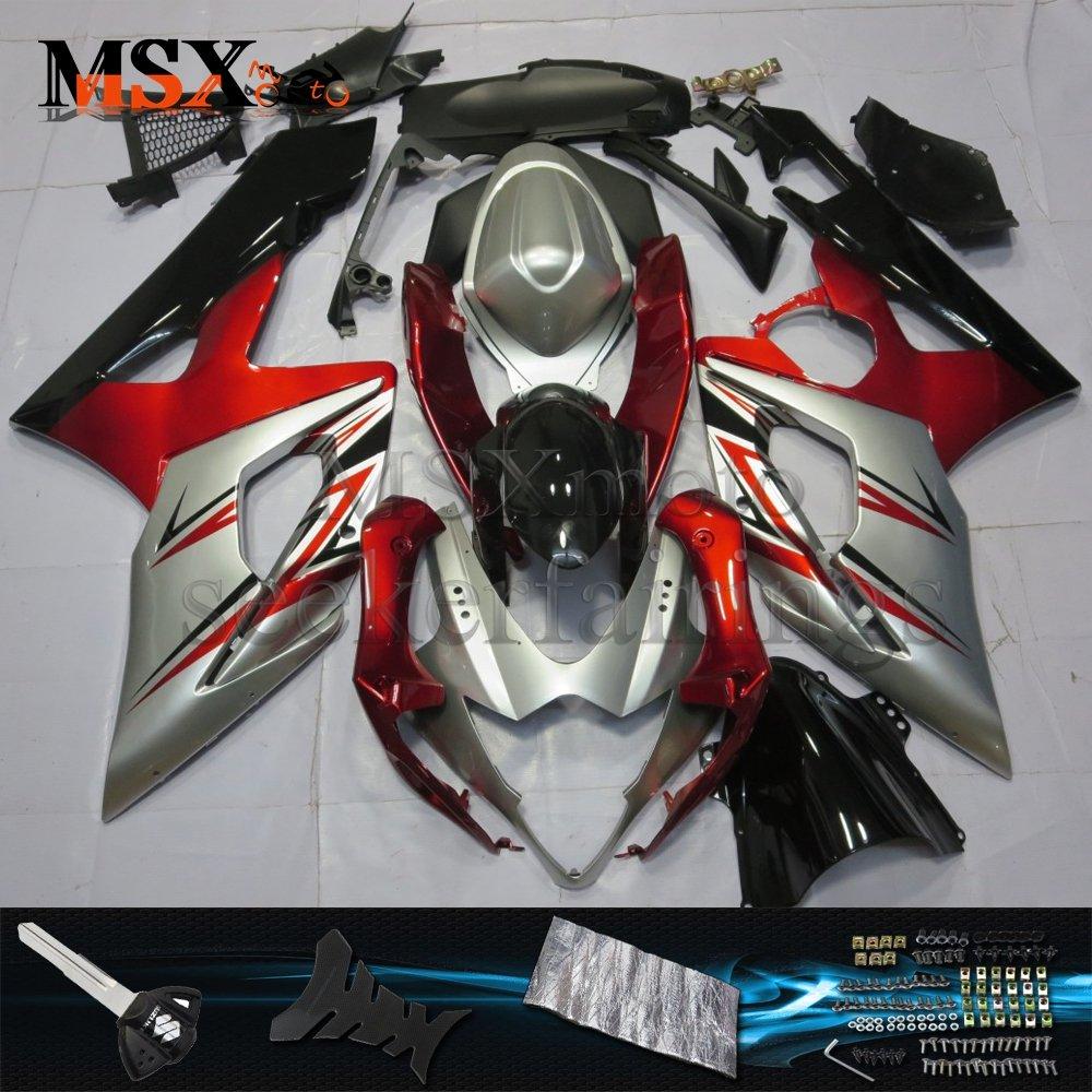 MSX-moto 適応ホンダ Suzuki GSXR1000 K5 05 06 GSXR 1000 2005 2006年 外装パーツセット ABS射出成型完全なオートバイ車体 赤/レッド&銀/シルバーのボディ   B07F2J4T86