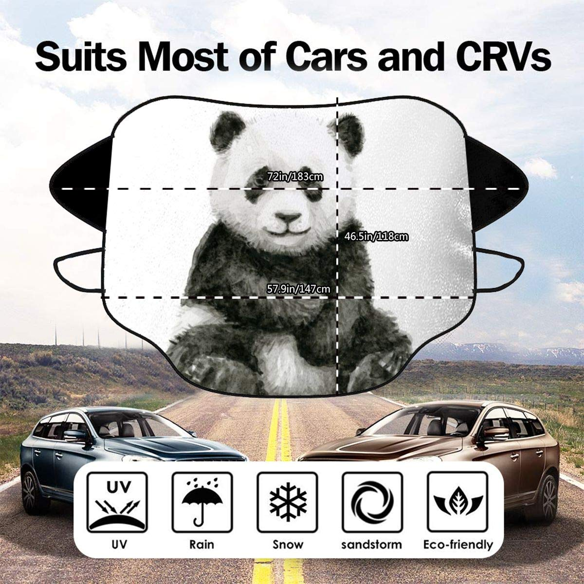 Lilyo-ltd Panda baby watercolor animal art Car Windshield Sun Shade Snow Cover Windscreen Protector Cover for Most Car Keep Your Vehicle Cool SUV Trucks,Protector Blocks Heat /& Sun