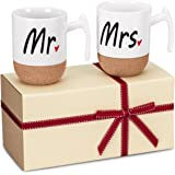 Zi-Rui Mr and Mrs Ceramic Coffee Mugs Set of 2 - Novelty Mr and Mrs Coffee Tea Cups 9.5 oz With Cork Bottom. Comes In A…